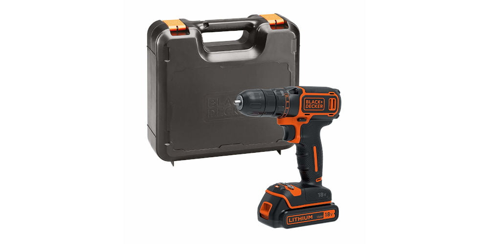 BLACK+DECKER BDCDC18K-GB LION 18V Drill Driver with Kitbox
