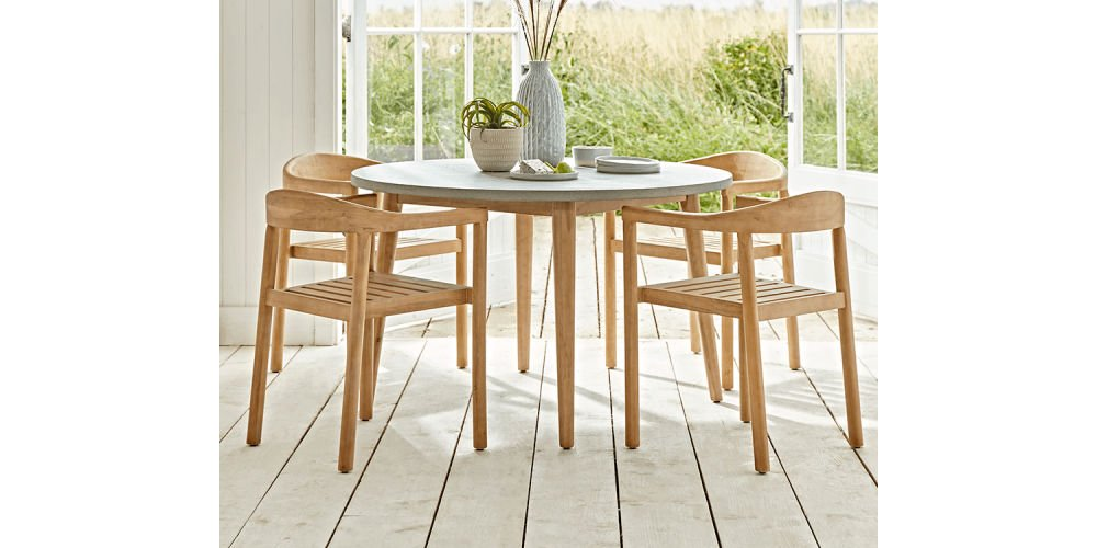 Cox & Cox Concrete Topped Round Dining Table