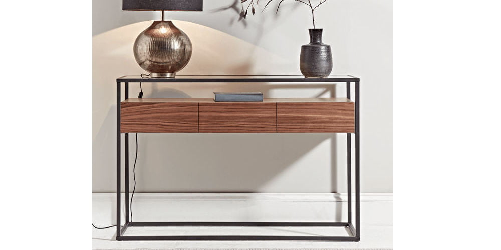 Cox & Cox Walnut & Glass Console Table