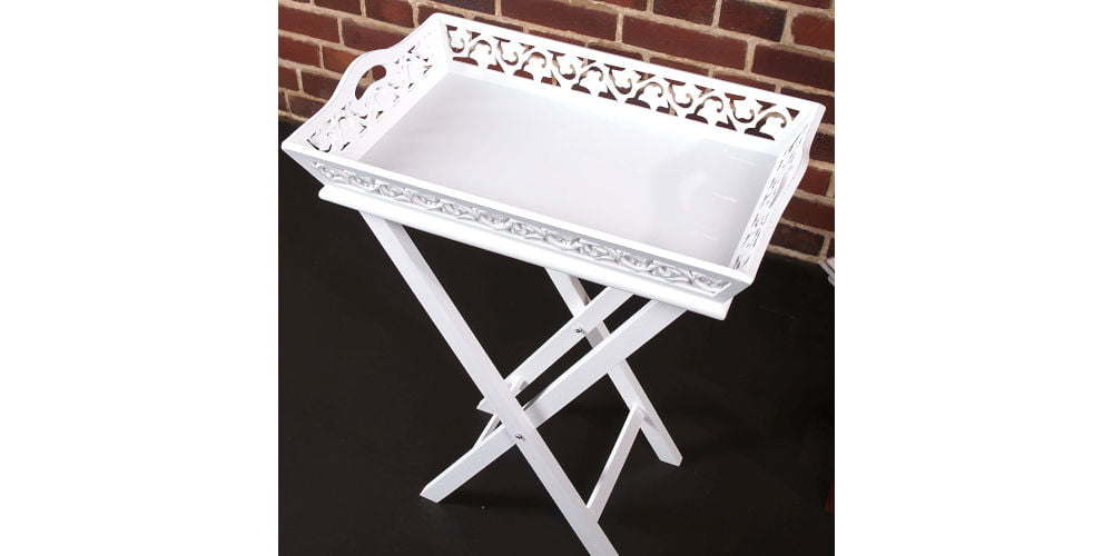 DESIGN DELIGHTS Whitewashed Butler Tray Table