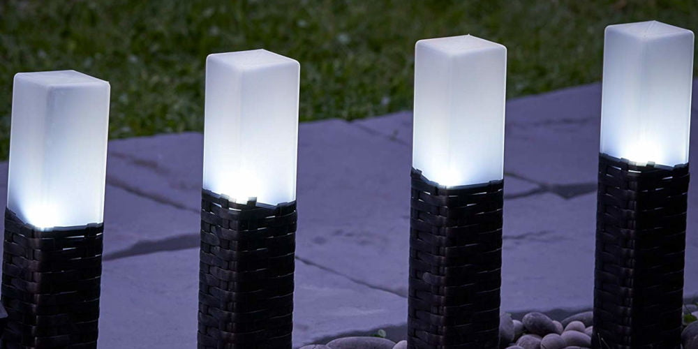 GloBrite Set of 4 Rattan Solar Lights