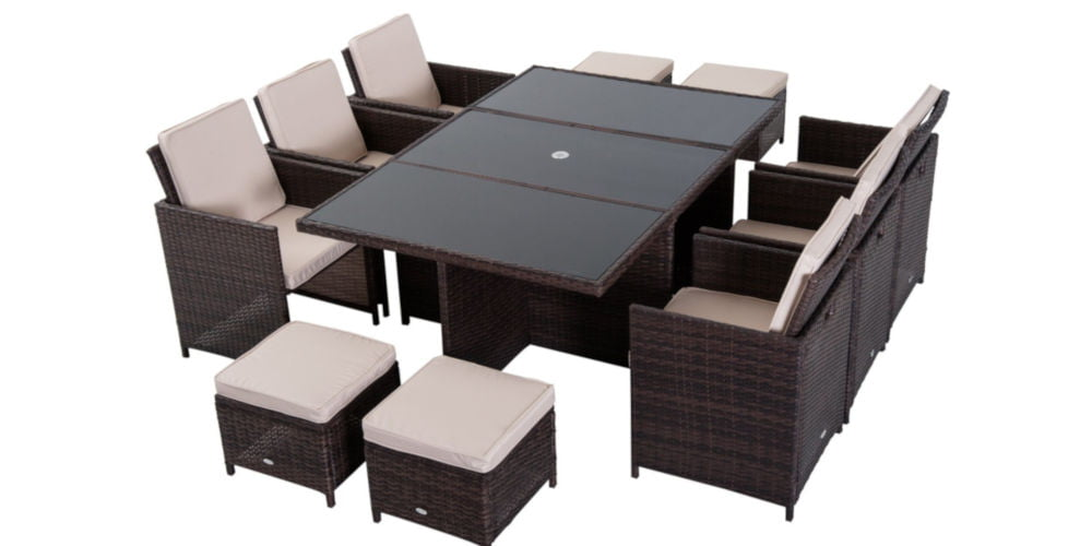 Outsunny Outdoor 11pc Rattan Dining Set