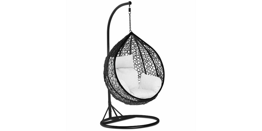 Popamazing Black Rattan Hanging Swing Chair