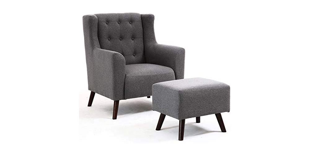 WarmieHomy Linen Wing Back Armchair with Footstool