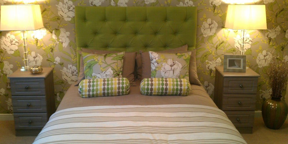 modern greens colours bedroom