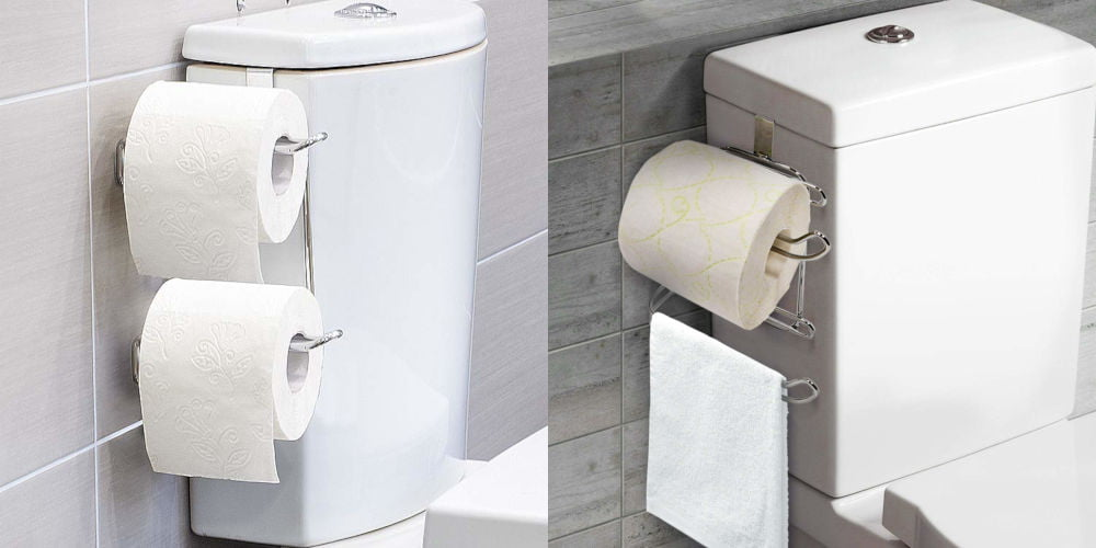 Wonder Worker Clever Over Tank or Cabinet Door Double Toilet Roll Holder