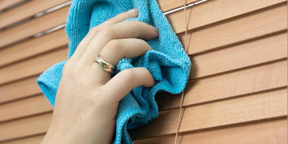 wiping wood blinds
